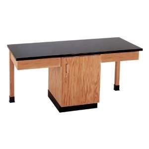 Table with Storage Plain Apron Epoxy Resin Top Door