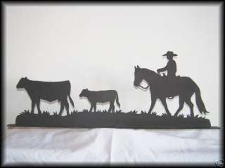 Cowboy, Horse, Cow & Calf Western Metal Art Silhouettes