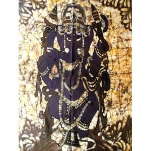 Indian God Ganesh / Ganesha Cotton Fabric Tapestry Batik Painting Wall