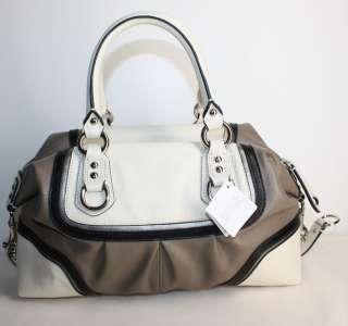 NEW COACH ASHLEY SPECTATOR LEATHER SATCHEL BAG GREY MULTI SILVER