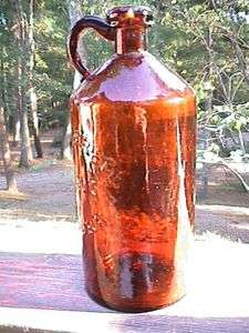 Collectible Antique Bottle Amber Handled Whiskey Biningers