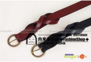 Women Classic Knotted Leather Belt Black/Camel/Red New