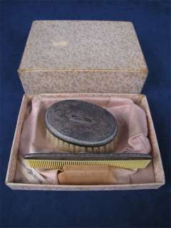 Vintage 1940s Sterling Silver Baby Brush & Comb Set Box