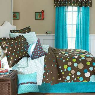 Polka Dot~Brown,Aqua Blue,Lime Green Comforter+Sheets+Pillow~Girl Teen