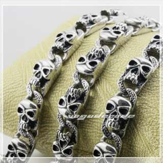 Cool 316L Stainless Steel Mens Skull Necklace 5E019
