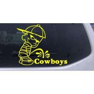 Pee On Cowboys Car Window Wall Laptop Decal Sticker    Yellow 18in X