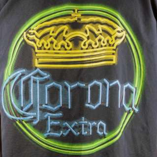 Corona Extra Beer Crown Mens Lounge Shirt Medium Blue Neon Sign