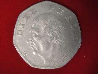 1980 Diez 10 Pesos Mexico Mexican Coin  COOL! #