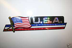 USA COUNTRY FLAG LONG BUMPER STICKER U.S.A. DECAL