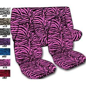 Complete set of Pink Zebra seat covers for a 2011 Chevy Camaro. Side