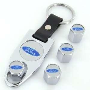 Ford Blue Logo Chrome Tire Valve Caps + Wrench Keychain Automotive