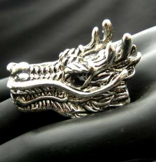 TL157 Big 40mm Chinese Dragon Crystal RS Ring Size 9 Heavy Punk Biker
