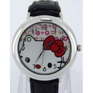 Gorgeous Hello Kitty Black Leather Watch