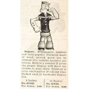 Print Ad POPEYE Sailor Comic Character Wooden Doll   Original Print Ad