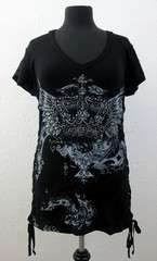 Womens Black Short Sleeve Shirt Rhinestone Crown Wings Hoodie Top NEW