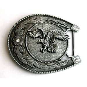 Flying Eagle in Horse Shoe Antique Finishing Belt Buckle