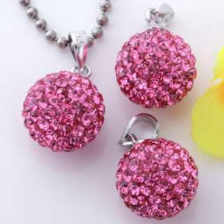 Pink Czech Crystal 925 Silver Ball Pendant Charms 1PC For Necklace