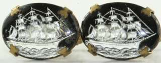 1940S REVERSE PAINTING UNDER GLASS SAILING TALL SHIP CUFFLINKS