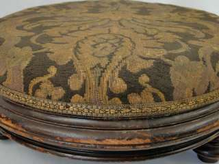 Antique Victorian Round Tapestry Footstool Gout Stool Foot Rest