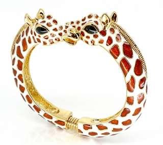 Kenneth Jay Lane Gold & Enamel Brown and White Giraffe Bracelet
