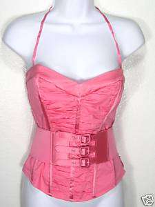 NWT BEBE PINK RUCHED CORSET BUSTIER BLOUSE TOP L
