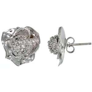 14k White Gold Rose Flower Earrings w/ 0.40 Carat Brilliant Cut ( H I