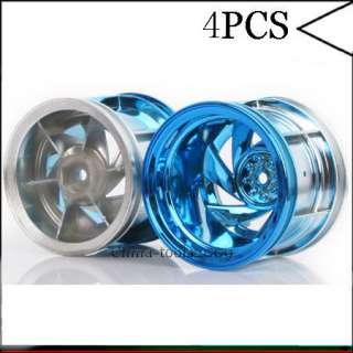 4PCS 110 RC CAR On road MONSTER Blue Plastics Wheel Rim Truck 6008