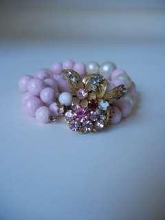 1940s 50s DEMARIO Pink & Faux Pearl BRACELET Gold Crystal Rhinestone