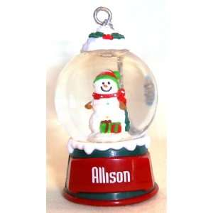 Allison Christmas Snowman Snow Globe Name Ornament