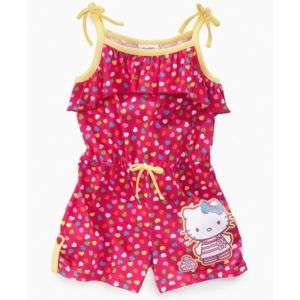 Hello Kitty Kids Romper, Little Girls Heart Print