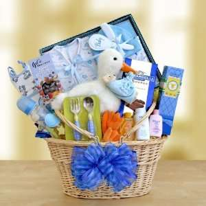 California Delicious Special Stork Delivery Baby Boy Gift Basket