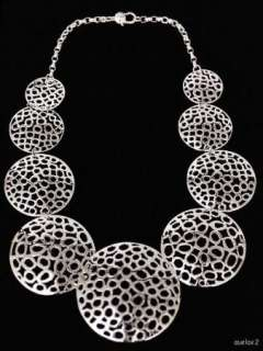 New ROBERT LEE MORRIS Lace Disk Graduated Necklace 20