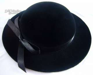 Doll Clothes fits American Girl Black Velvet Derby Hat