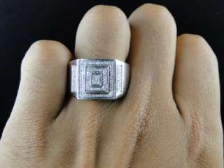 10K MENS WHITE GOLD PINKY WEDDING BAND GENUINE DIAMOND DESIGNER RING