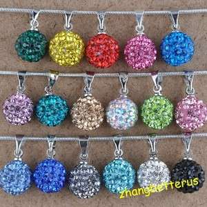 Austrian Crystal Rhinestone Pave Disco Ball Beads Necklace Pendants