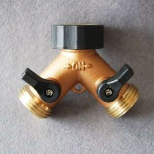Aluminum and Brass Garden Hose Y Connector: Patio, Lawn