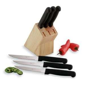 Diamond Cut 6pc Steak Knives in a Study Wood Block