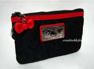 Black & Red Cosmetic Pouch Bag w/ Zipper Keychain Key Chain