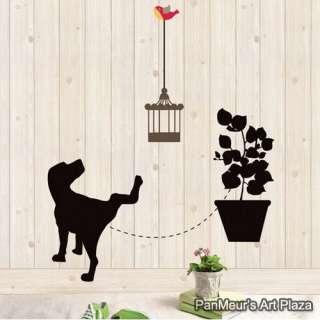 LWST 18 Black Dog, Decals Decor Mural DIY Home Art Wall Sticker