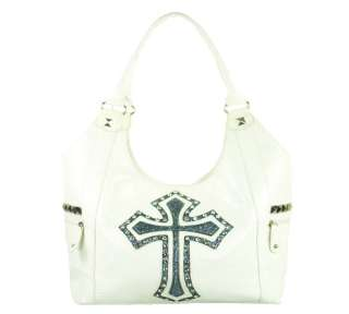 New Fashion Rhinestone Cross Leather Luxury Handbag   White