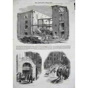 1858 Ruins Fire London Docks Fire Engine Station Print