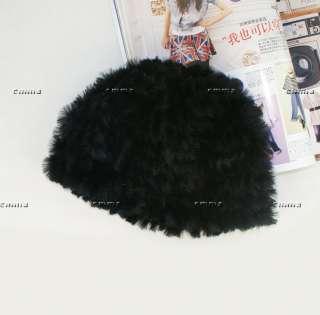 Black Real farms REX RABBIT Fur Knit Hat/Scarf/Cape Fashion