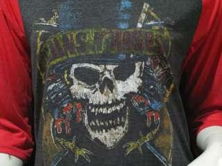 Guns n Roses Skull Pistols Rock Vintage Women T Shirt