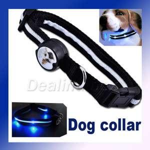 Dog Pet Blue LED Light Flashing Safety Collar Tag Nylon