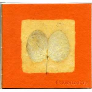 Elegant Handmade Greeting Card Real Leaf Imprint Orange Handmade Paper