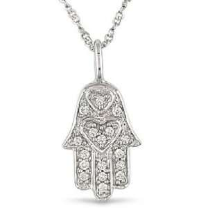 com Paris Jewelry 14k White Gold Diamond Accent Hamsa Necklace Paris