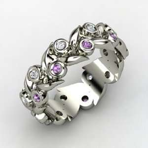 Orange Blossom Wreath Ring, 14K White Gold Ring with Amethyst