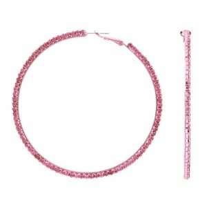 Rebas Rhinestone Hoop Earrings   Pink Jewelry