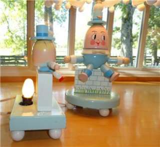Vtg~IRMI~Nursery~Original~Wooden Humpty Dumpty~Kid~Baby~Lamp+Shade