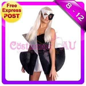 New Lady Gaga Black rock queen fancy dress costume with Wig, Mask Size
